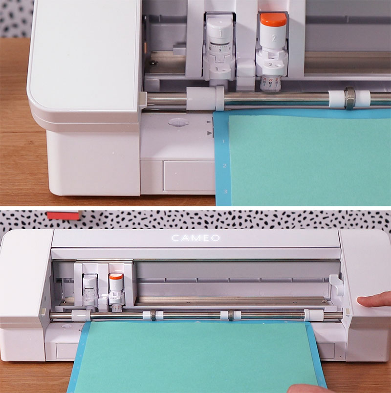 Loading cutting mat into Silhouette Cameo 4 machine.