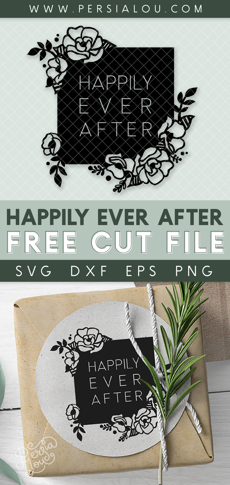 collage of happily ever after svg design with sample wedding favor project, a gift box wrapped in brown kraft paper with Happily Ever After sticker on top