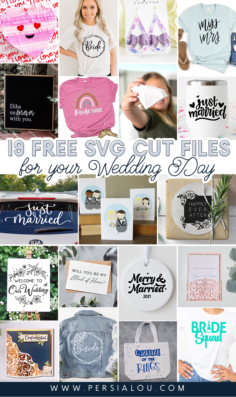 collage of 19 wedding themed svg cut file craft projects