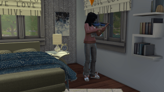 Margaret practicing the violin and making everyone in the house cringe.