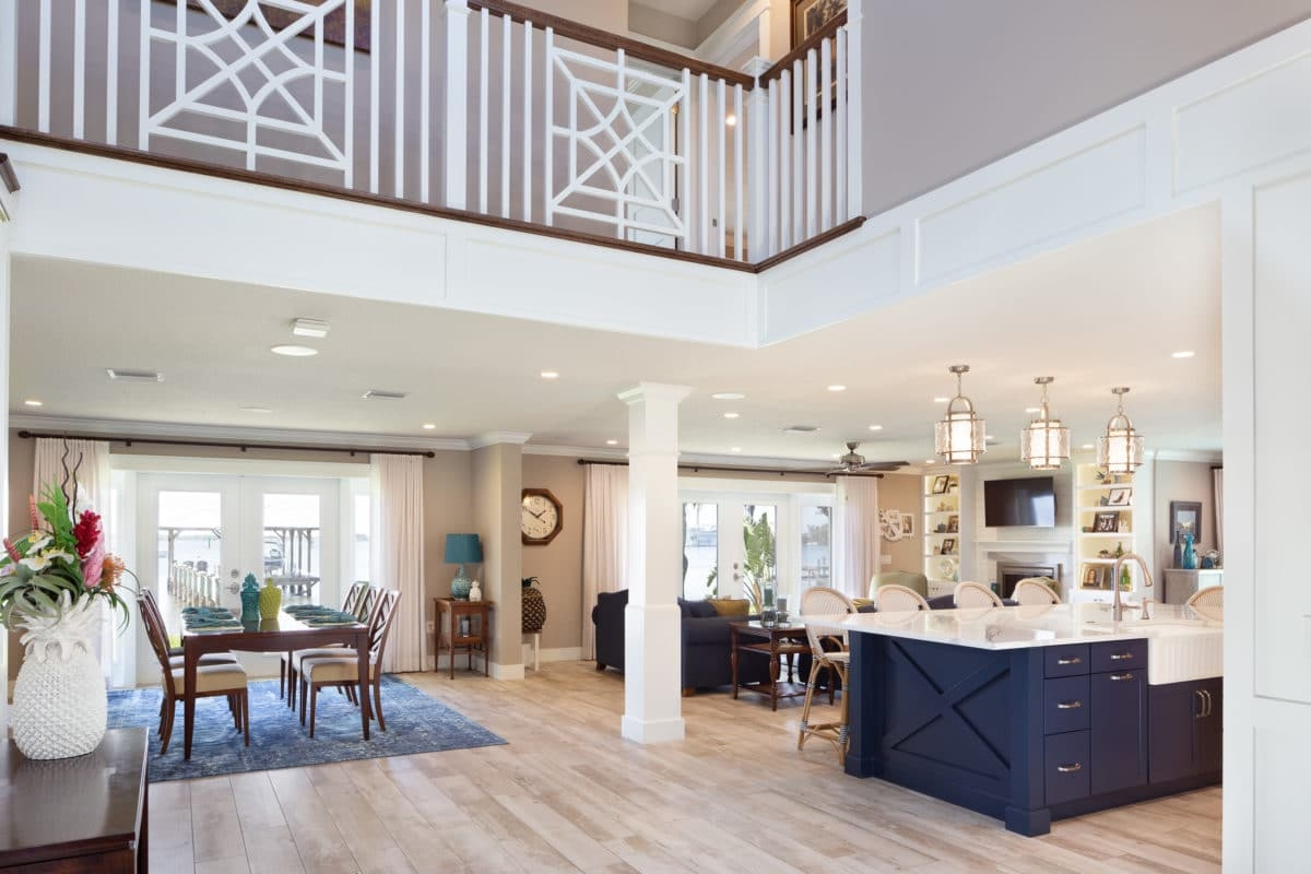 Poinciana River House Persimmon Interior Design Ann Johnsrud   Two Story House Stair Design   Upstairs   Mansion   Small Space   Front Entrance   Double Door Main Hall Door