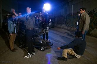From left to right: DP, Amy Limpinyakul; Director, Kaveh Ryndak; 1st AD, Nick Helfers; Script Supervisor, Molly Fraken Strole; Karmann Bajuyo (Cesar); Production Designer, Charles Nankinev; Eddie Martinez (Juan)