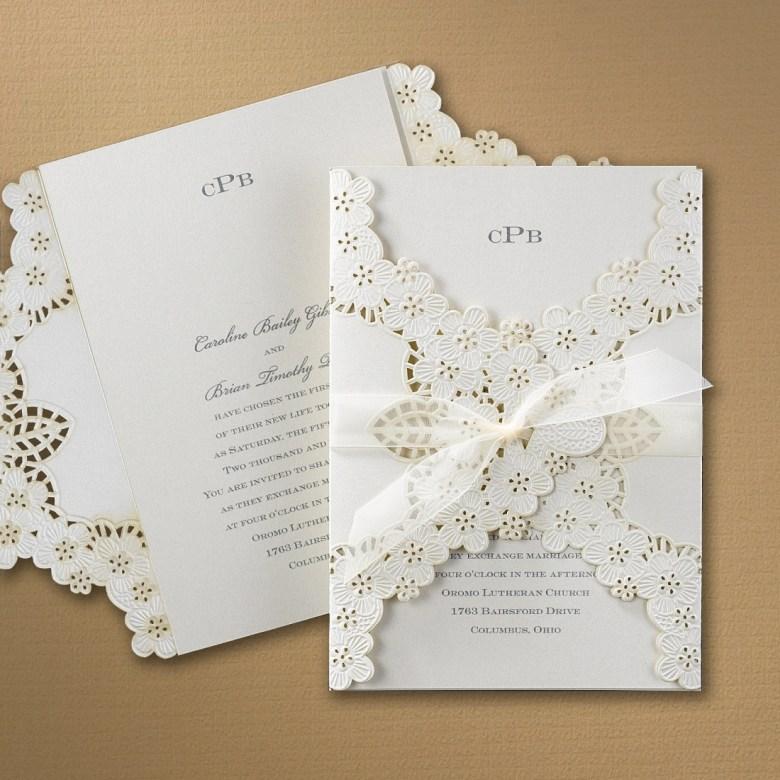lace wrap wedding invitation laser cut