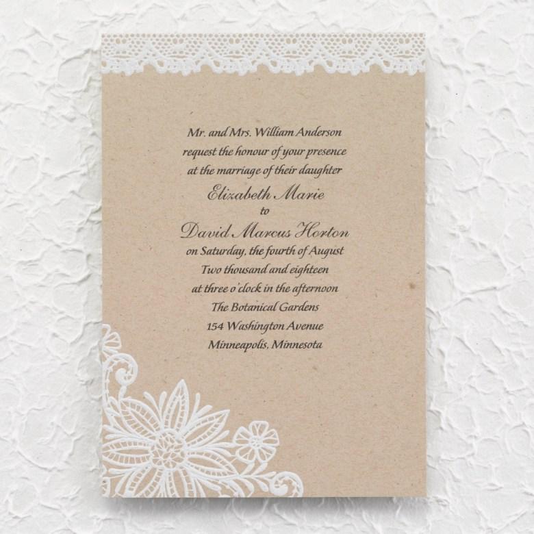 lace invitation burlap rustic