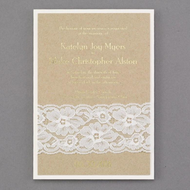 lace invitation rustic