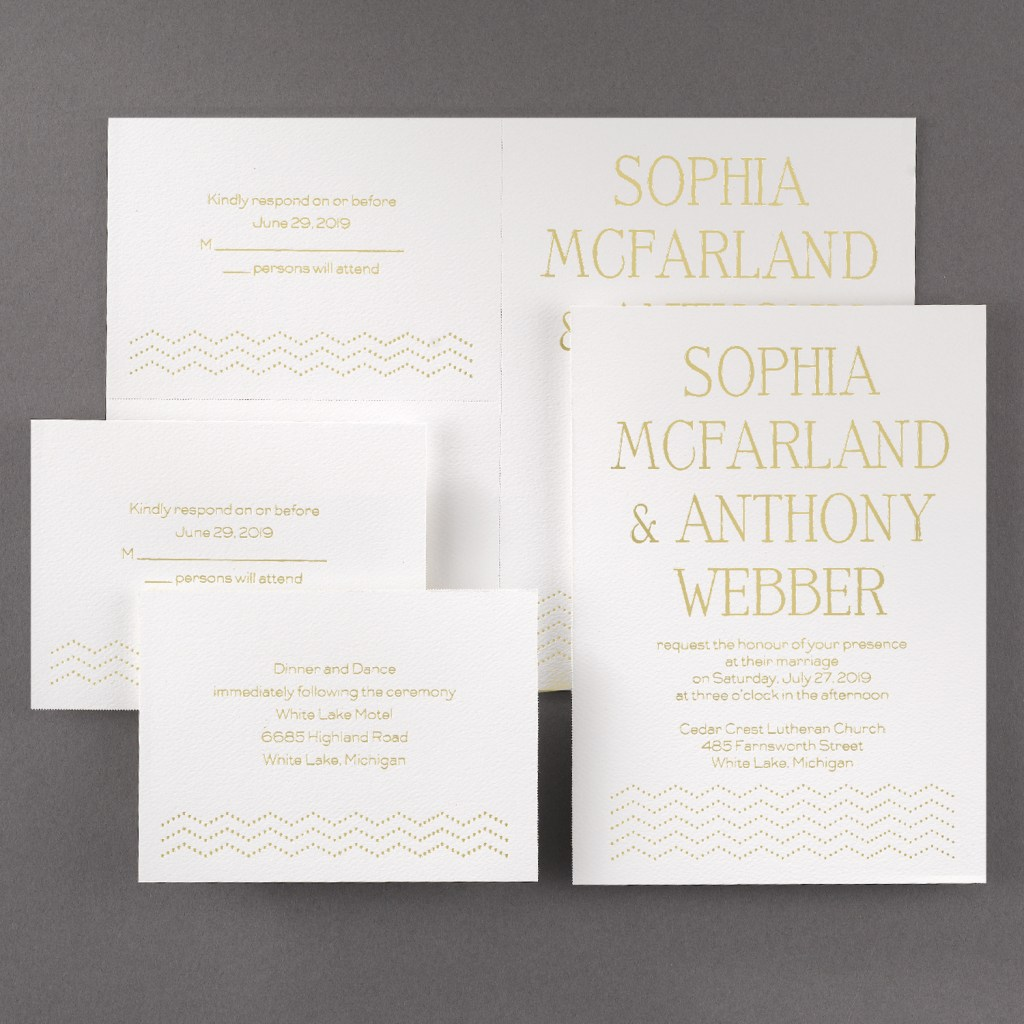 chevron glimmer wedding invitation budget friendly