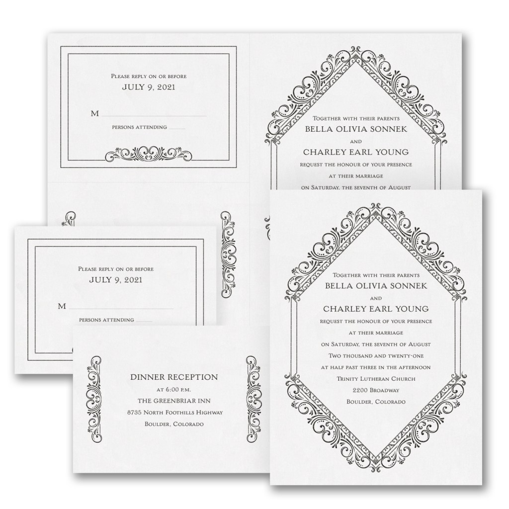 classic elegance wedding invitation budget friendly