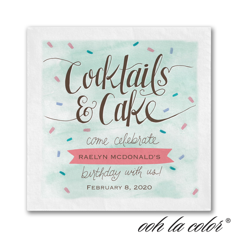 cocktails and cake napkin birthday
