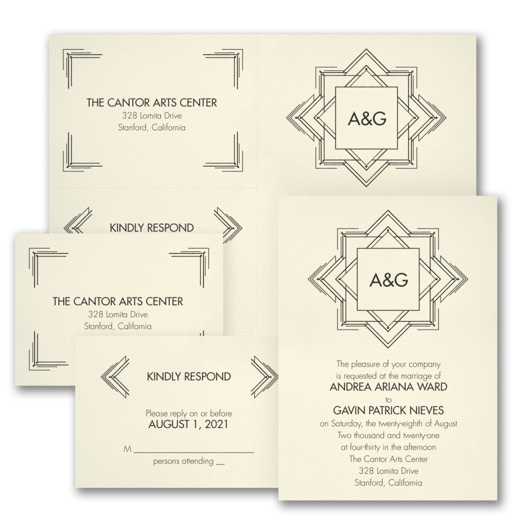 deco romance wedding invitation budget friendly