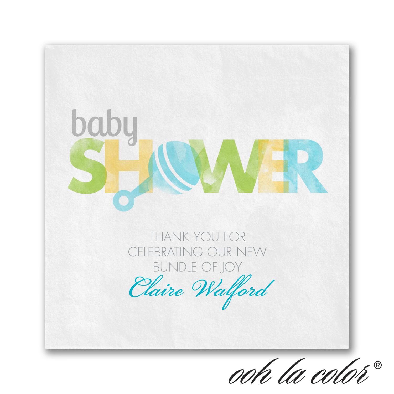 little rattle baby shower napkin