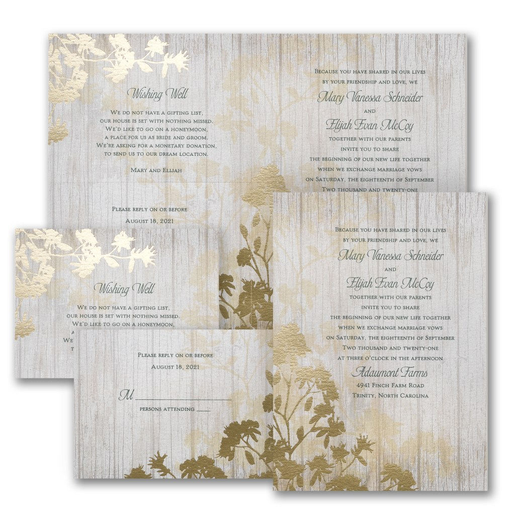 refined nature foil wedding invitation budget friendly