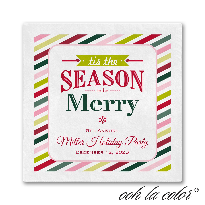 seasonal stripes cocktail napkin