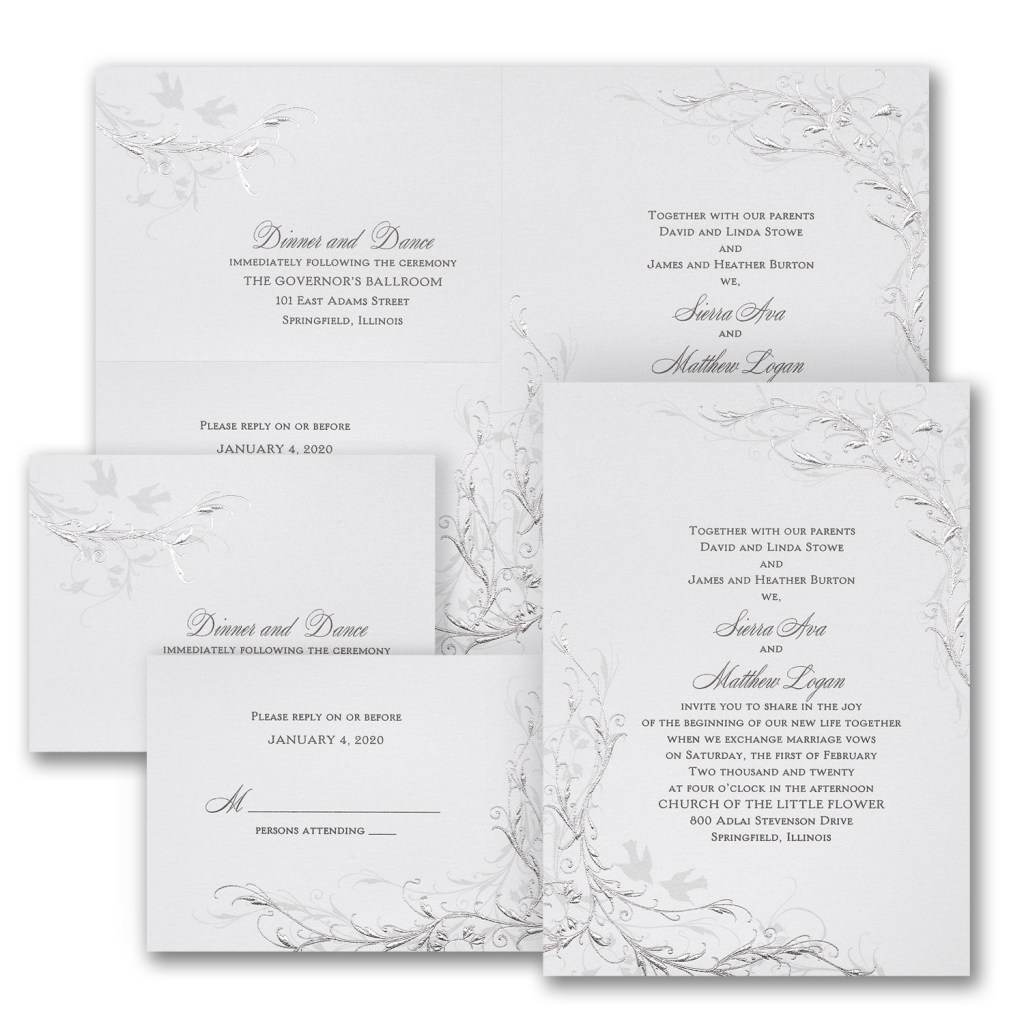 shimmering silver wedding invitation budget friendly