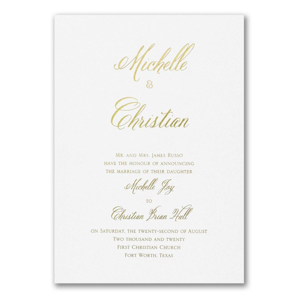 gold foil wedding invitation