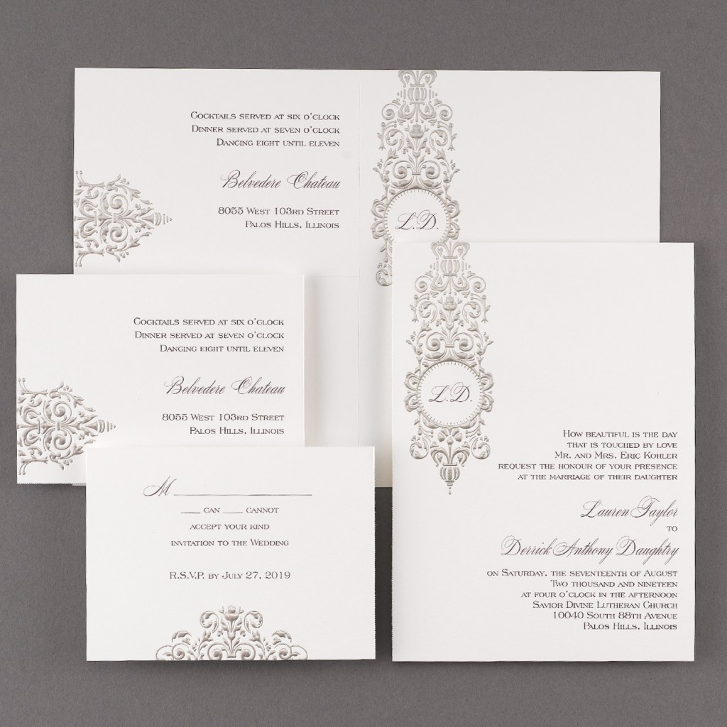 silver damask wedding invitation budget friendly