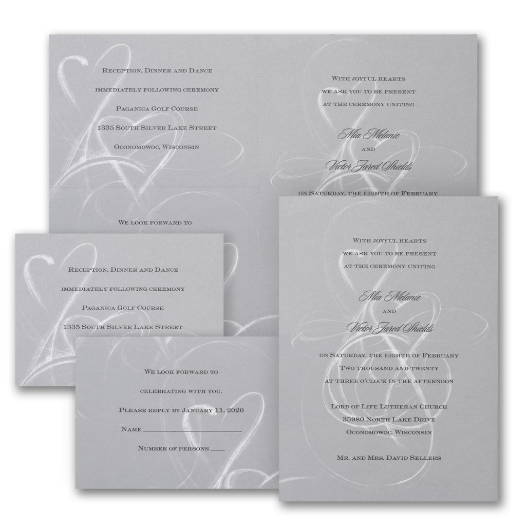 grey hearts wedding invitation budget friendly