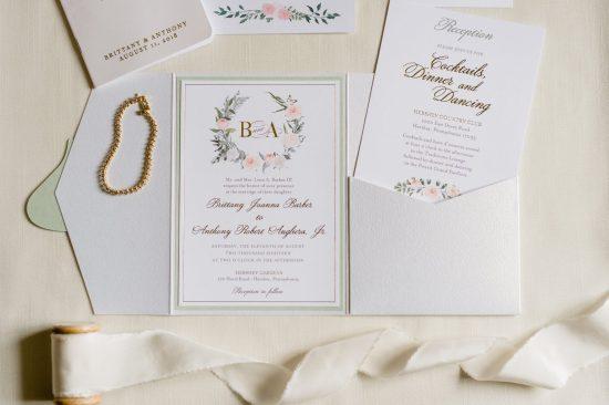 mind and pink wedding invitation gold foil pocket custom wedding invitation