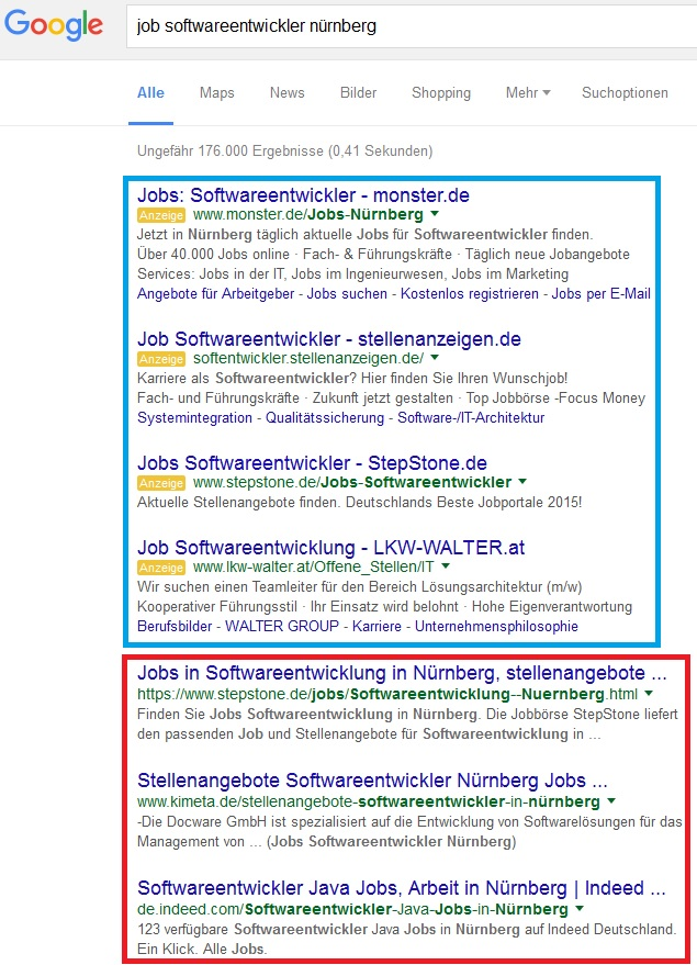 Jobsuche via Googlesuche