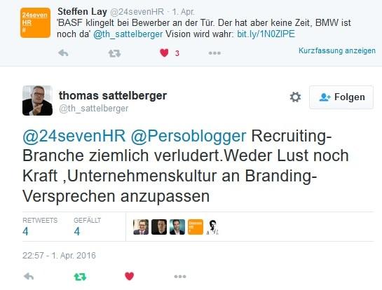 Twitterdiskussion mit HR-Visionären