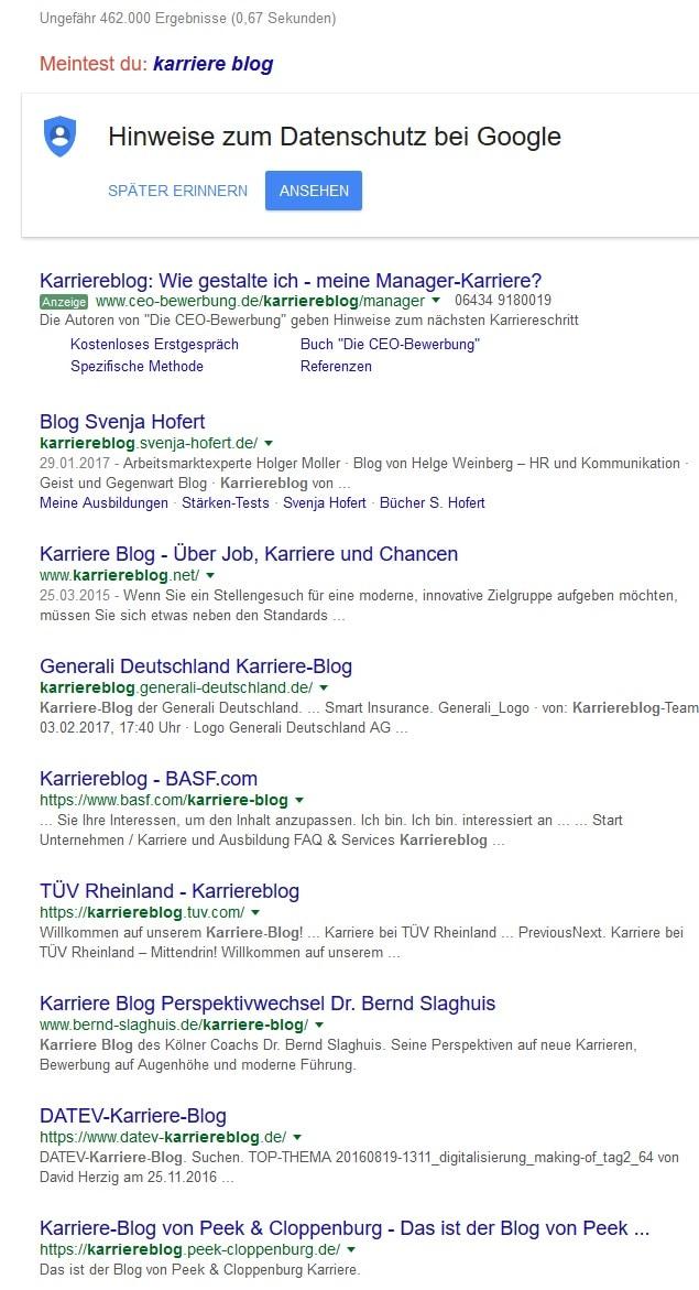 Google-Suche Karriereblog