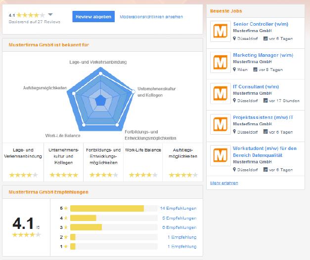 Das neue StepStone Company Hub Unternehmensprofil mit Arbeitgeberbewertungen