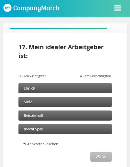 Screenshot CompanyMatch Fragebogen