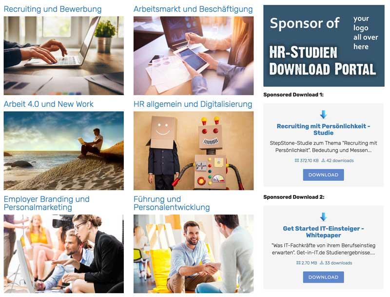 Sponsoring HR-Studien Download Portal Screenshot Muster