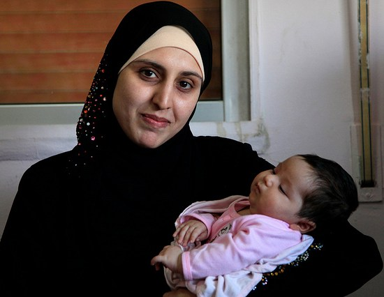 Syrian refugee mom and baby