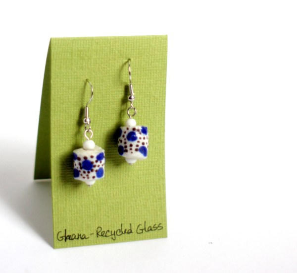 Polka Dot Glass Earrings Ghana