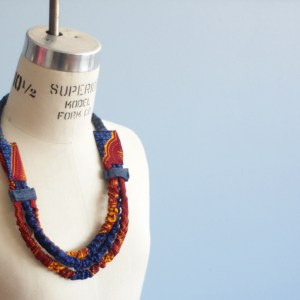 Orange and Blue African Necklace Fairtrade