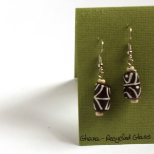 Brown recycled glass earrings from Ghana