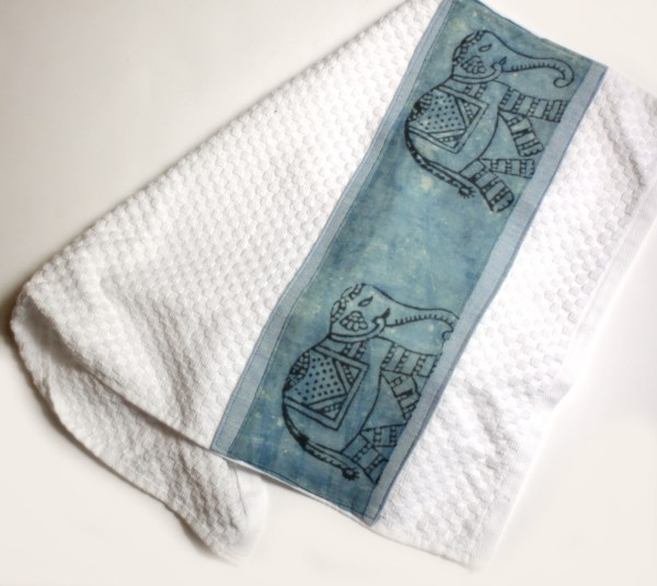India Elephant Block Print Kitchen Towels