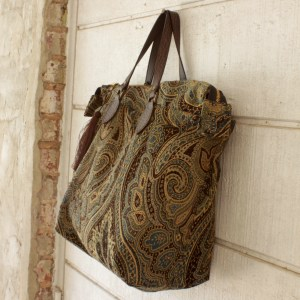 Blue and Gold Tapestry Carpet Purse