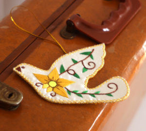 fair trade Christmas dove ornament