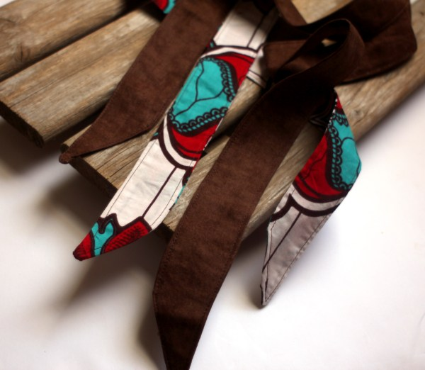 African Red and Brown Head Scarf Set