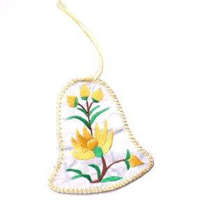 Yellow Flower Bell Ornament Embroidered in China