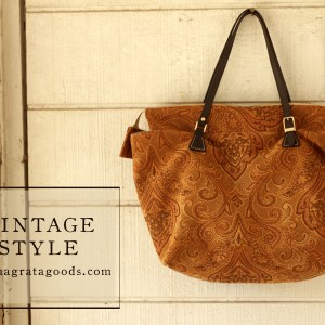 Burnt Orange and Brown Tapestry Carpet Purse
