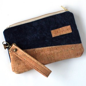 Blue Velvet and Cork Tapestry Wallet