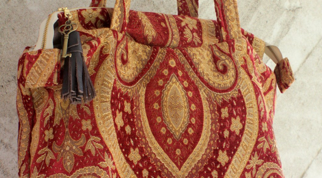 Red and gold carpet bag