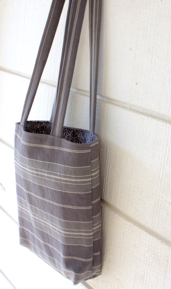 Blue Striped Small Tote Upcycled Fabric