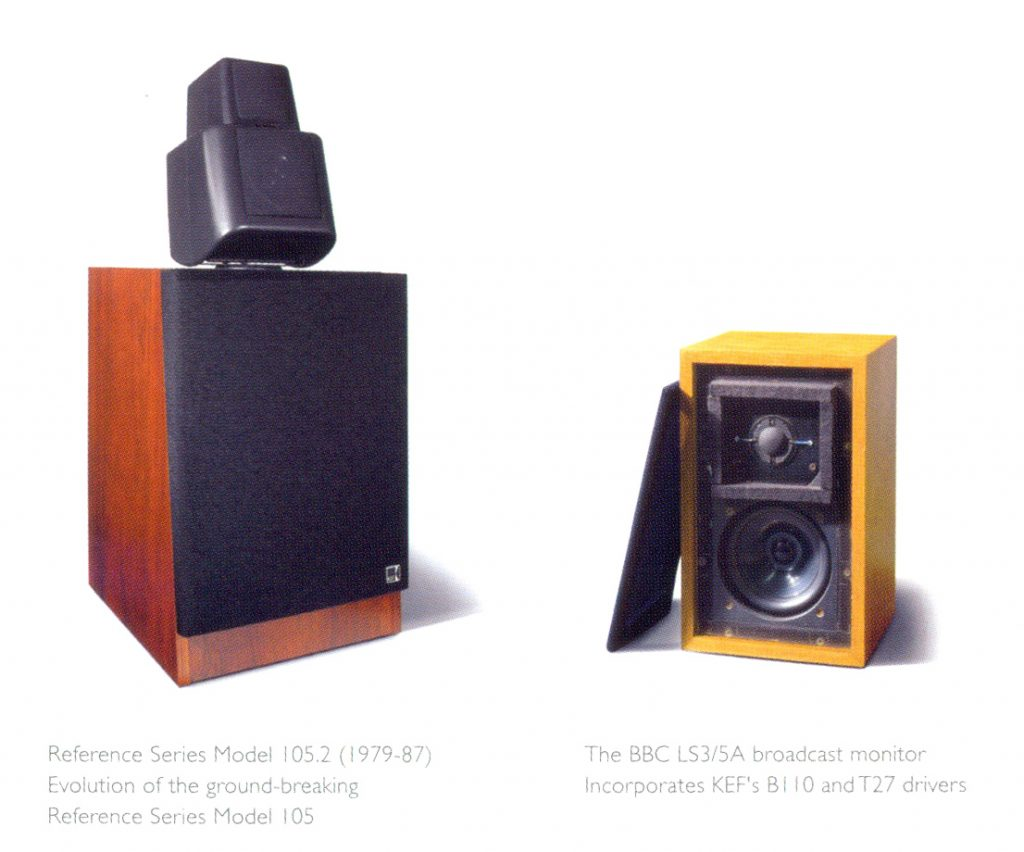 KEF Reference 105.2(左)、The BBC LS3/5A【相片來源:《KEF: 50 years of innivation in sound》】