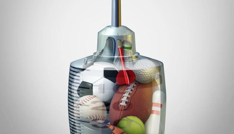 huge syringe with sports paraphernalia