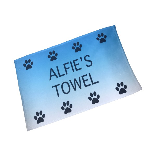 personalised pet towel in blue with dog name