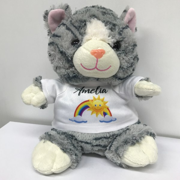 personalised grey cat teddy bear with t shirt