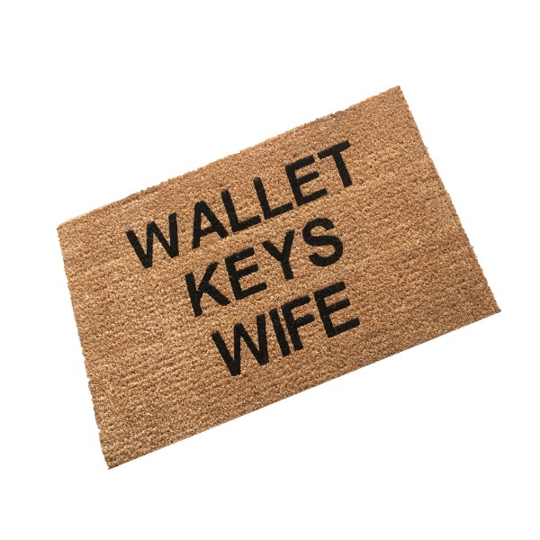 coir doormat personalised and printed with wallet keys wife text