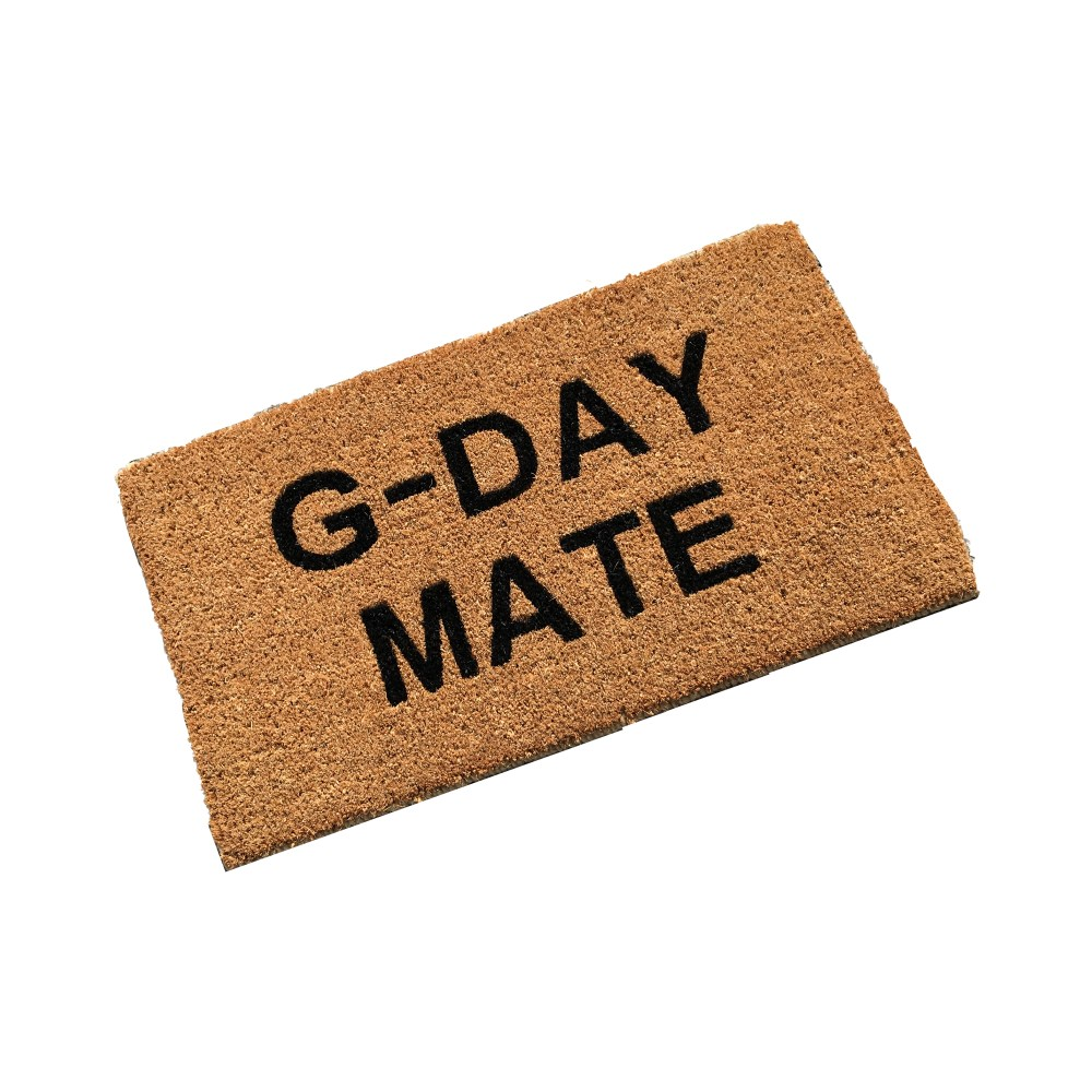coir doormat personalised and custom printed with g-day mate text