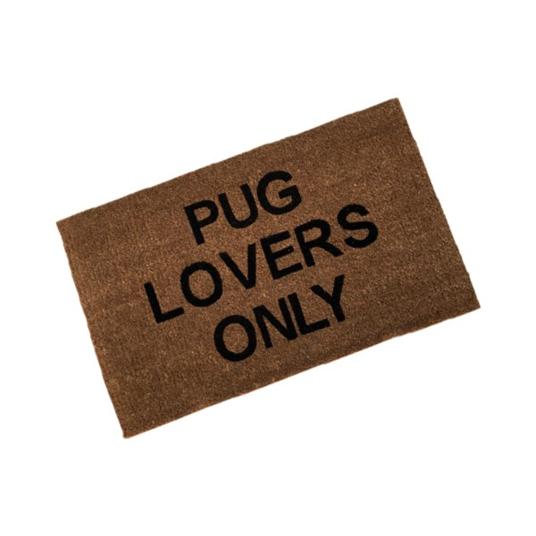 personalised coir doormat custom printed with pug lovers only text