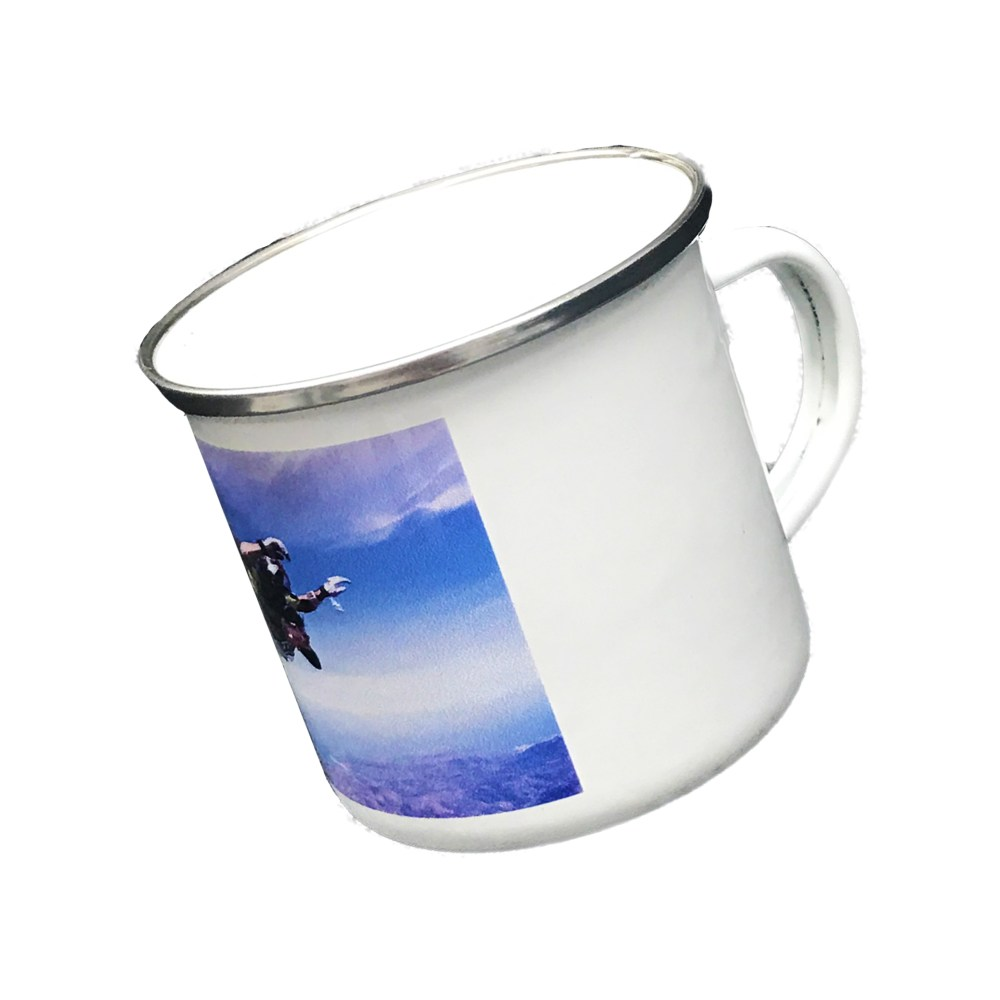 personalised enamel mug printed with a photo of a man sky diving
