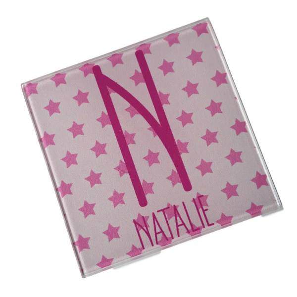 personalised name and initial glass coasters in pink with star background