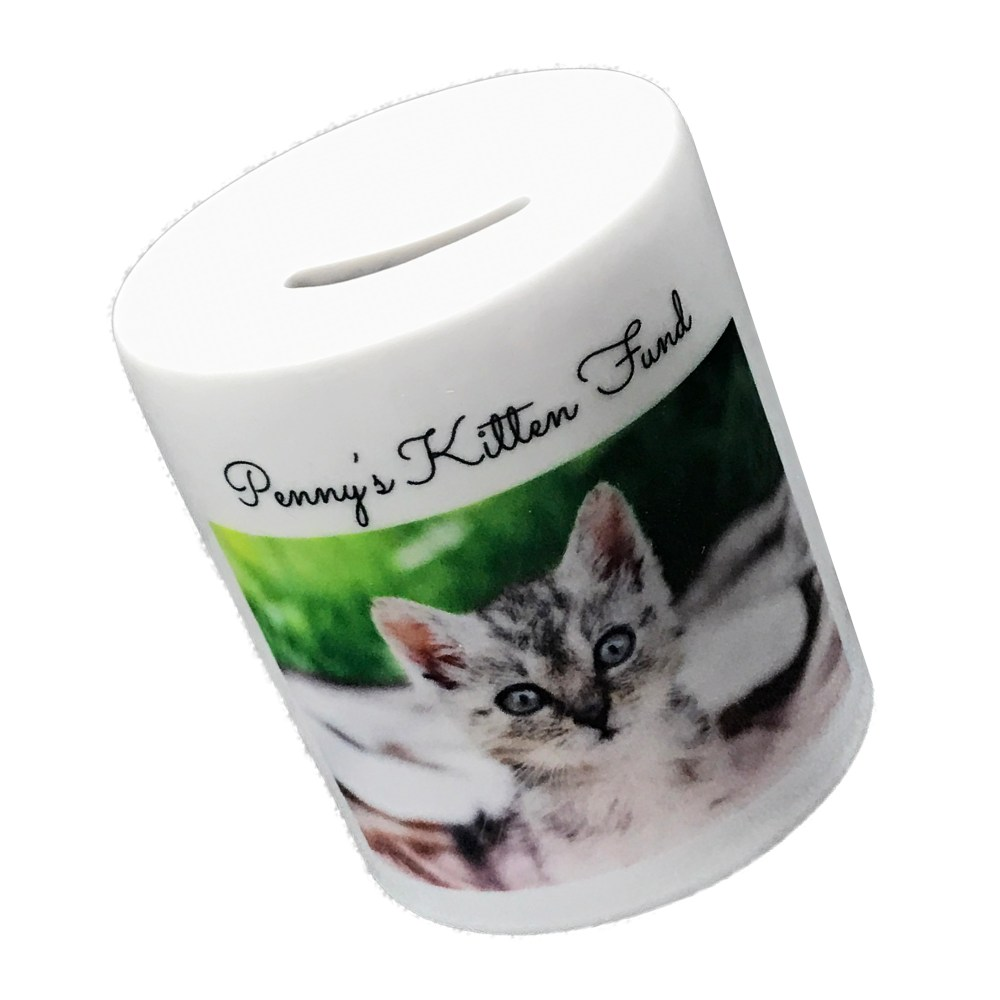 personalised photo money box printed with kitten picture